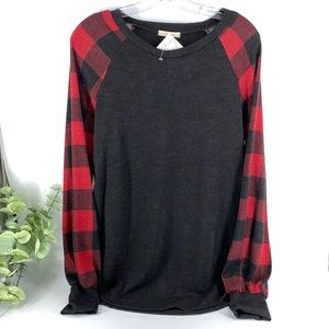 New Boutique Black Red Buffalo Check Brushed Knit